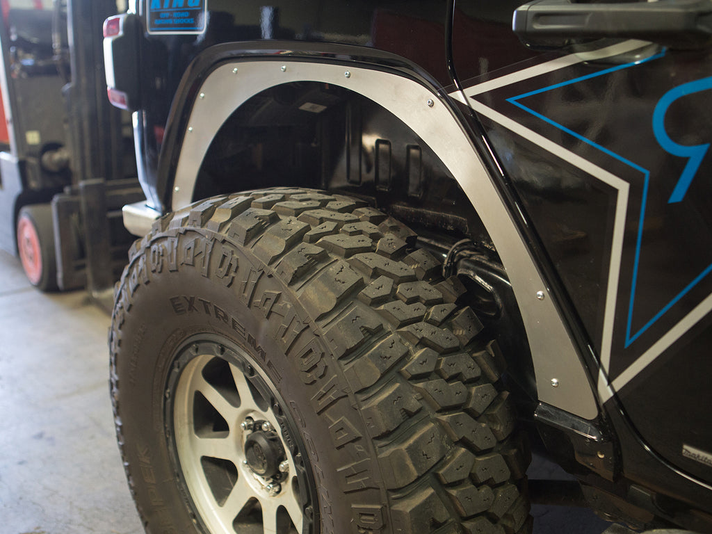 "GENRIGHT OFFROAD  0"" Fender Flare Delete Plates Rear - Aluminum for 18-up Jeep Wrangler JL & JL Unlimited"