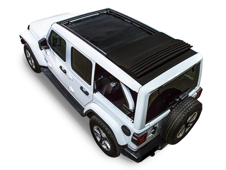 SPIDERWEBSHADE Power Top Shade, 4-Door Only, Black for 18-up Jeep Wrangler JL Unlimited