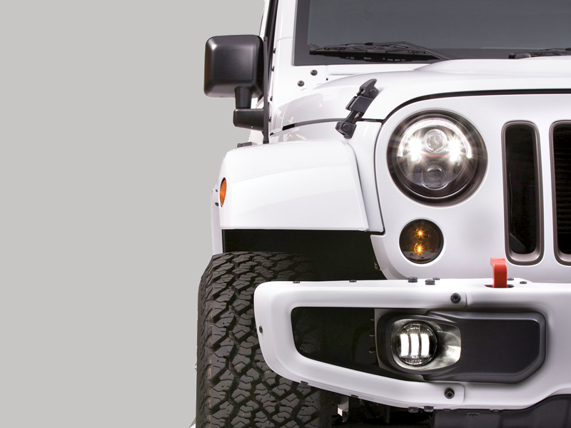 JW SPEAKER 12V DOT/ECE LED Round Turn Signals - 2 Light Kit for 07-18 Wrangler JK & JK Unlimited