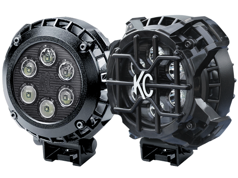 "KC 4"" Round LZR Driving Lights, Spot for 18-up Jeep Wrangler JL & JL Unlimited"