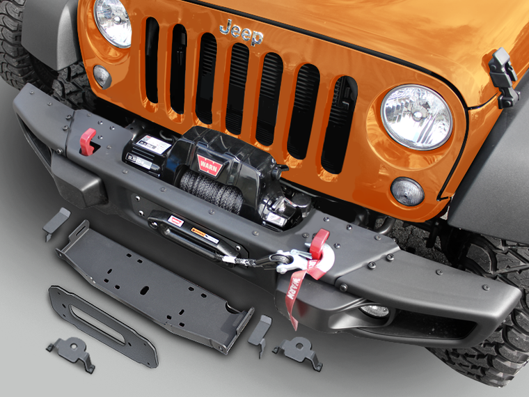 MAXIMUS-3 Off-Center  Winch Plate (9.5cti)  & Hoop  Kit for 10A/X Rubicon (incl. Classic Hoop, Light Brackets, Trim Plate & Vacuum Pump Relocation Bracket) for 07-18 Jeep Wrangler JK & JK Unlimited