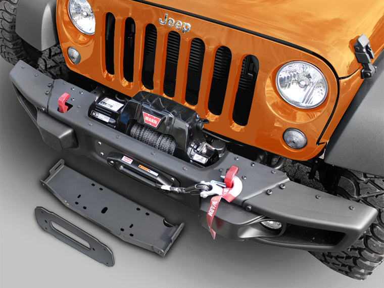 MAXIMUS-3 Winch Mounting Plate for 07-18 Jeep Wrangler JK & JK Unlimited with 10th Anniversary Front Bumper