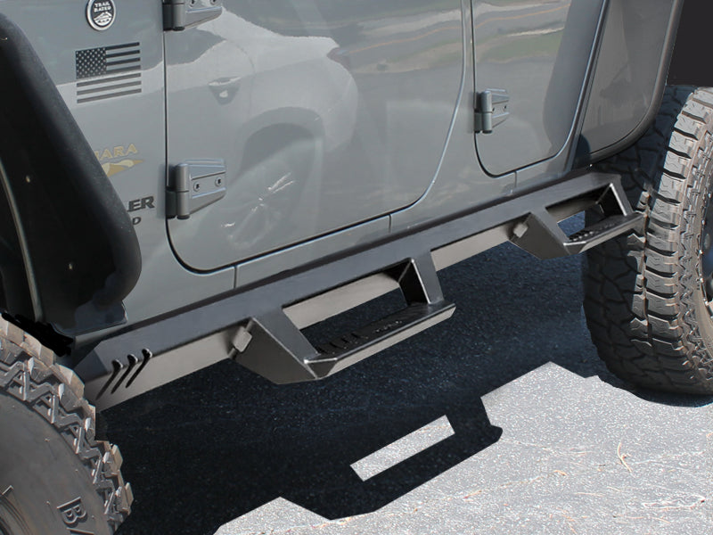 N-FAB EpYx Step System (Textured Black), 4-Door Only for 07-18 Jeep Wrangler JK Unlimited