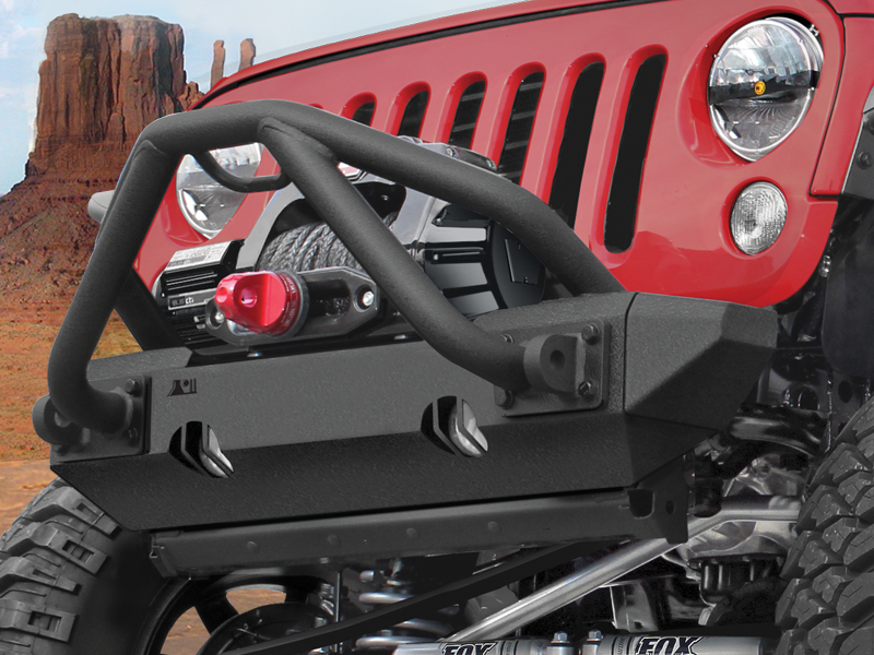 RUGGED RIDGE Striker Stubby Bumper, Textured Black for 07-18 Jeep Wrangler JK & JK Unlimited