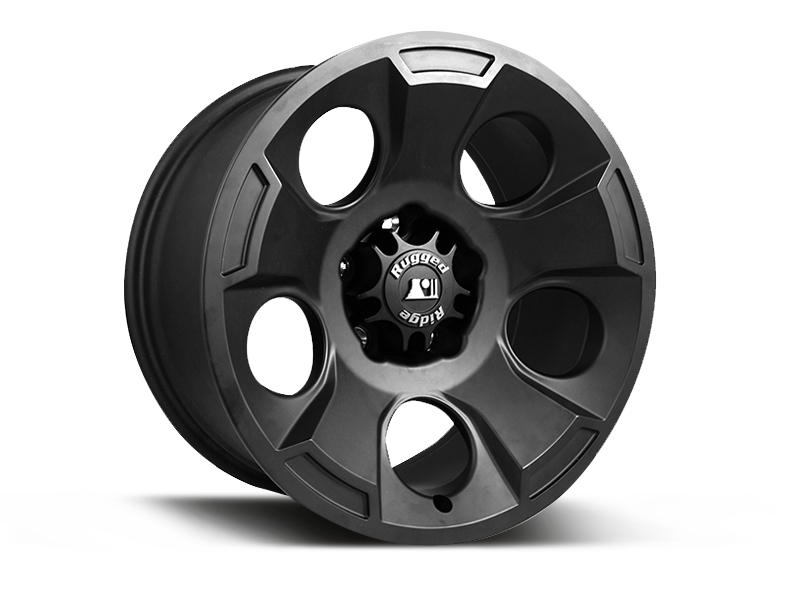 "RUGGED RIDGE Hub Centric ""DRAKON"" Wheel in Satin Black for 07-18 Jeep Wrangler JK & JK Unlimited"