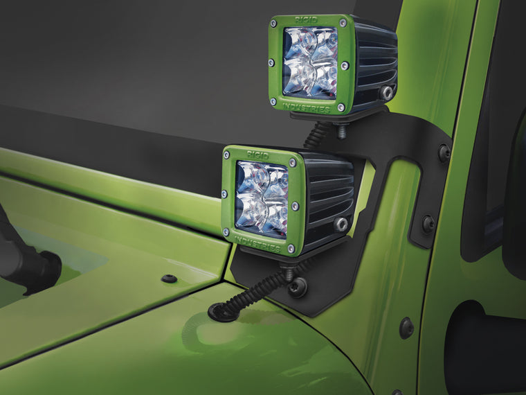 RUGGED RIDGE Light Mount A-Pillar Bracket Kit, Semi-Gloss for 07-18 Jeep Wrangler JK & JK Unlimited
