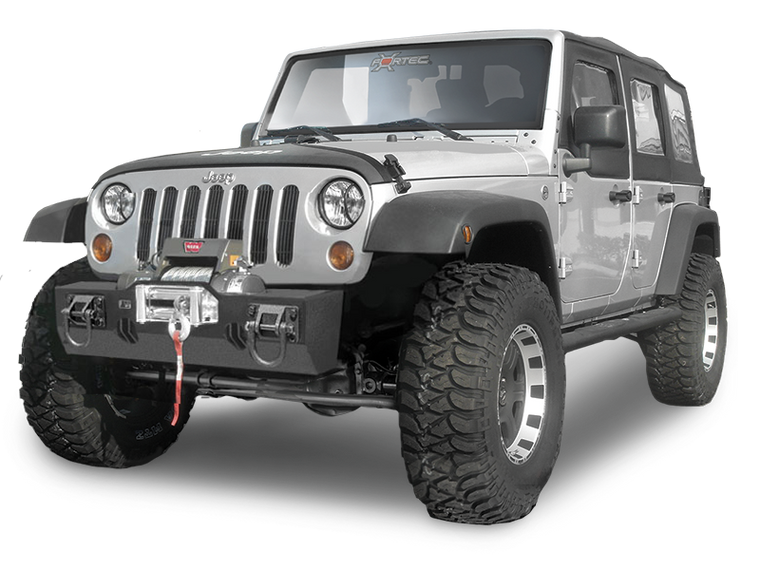 RUGGED RIDGE Front XHD Winch Mount Bumper Base, Textured Black for 07-18 Jeep Wrangler JK & JK Unlimited