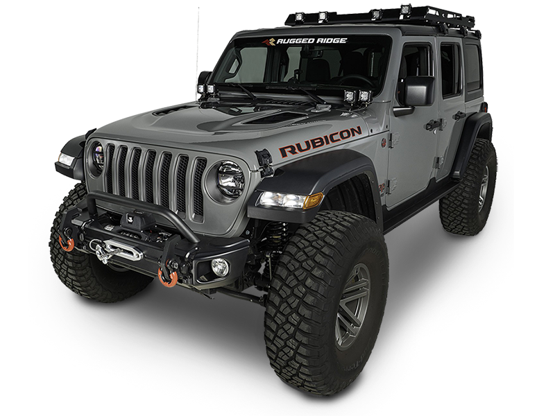 RUGGED RIDGE Arcus Front Bumper Tube Overrider, Black; 18-up Jeep Wrangler JL and 20-up Jeep Gladiator JT