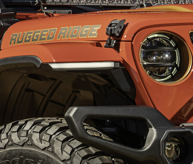 RUGGED RIDGE Chop Brackets w/ Daytime Running Lights, Front Fender Kit, Rubicon Only for 18-up Jeep Wrangler JL & JL Unlimited