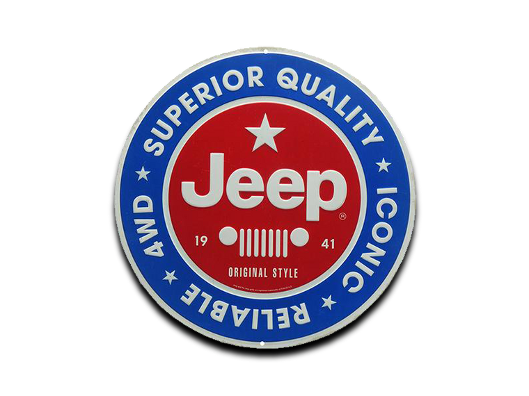 JEEP ROUND EMBOSSED TIN SIGN, 12