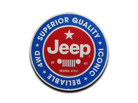 "JEEP ROUND EMBOSSED TIN SIGN, 12"" W X 12"" H X 0.125"" D"