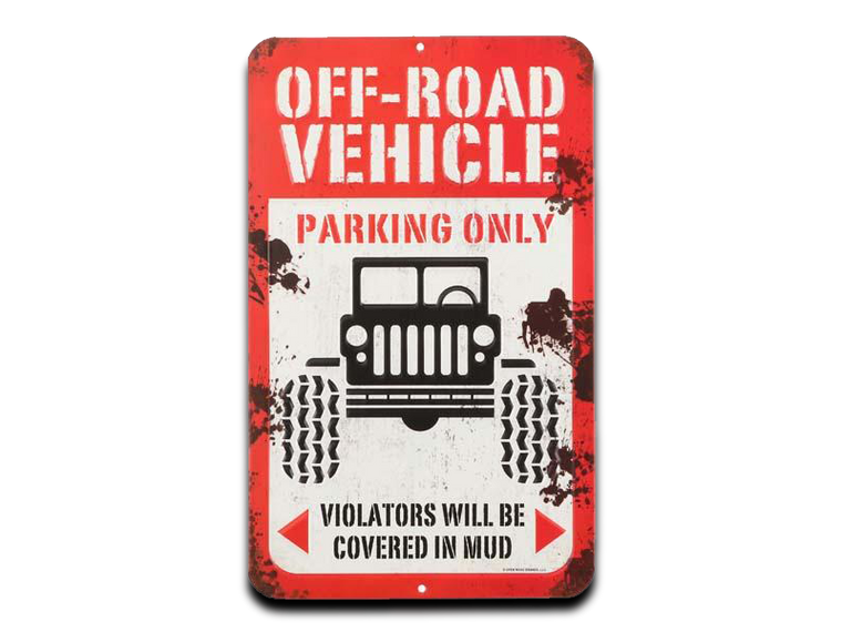 OFF ROAD VEHICLE EMBOSSED TIN SIGN, Size: 8