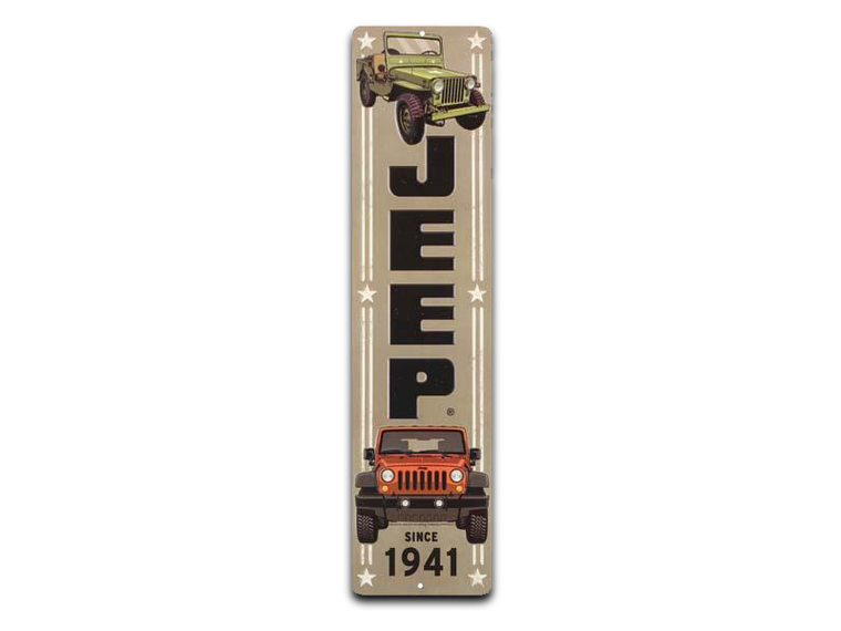 JEEP VERTICAL EMBOSSED TIN SIGN, Size: 5