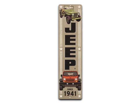 "JEEP VERTICAL EMBOSSED TIN SIGN, Size: 5"" W X 20"" H X 0.125"" D"