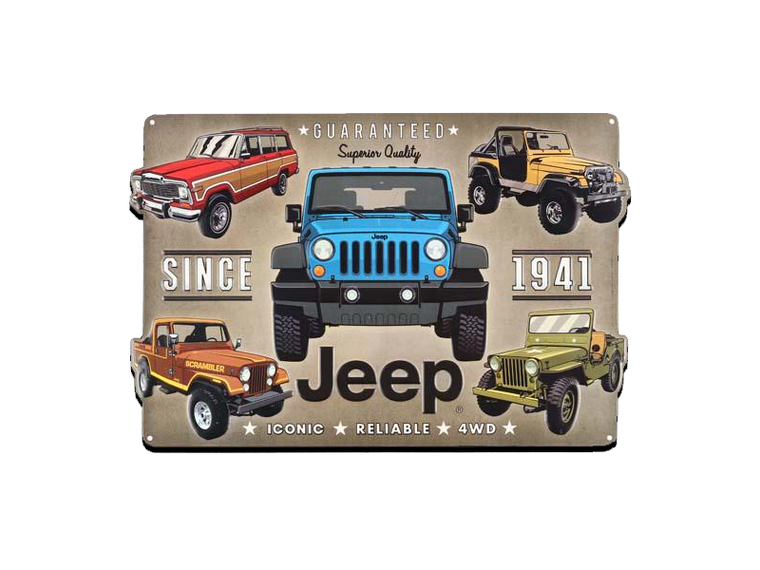 JEEP EMBOSSED TIN SIGN, Size: 18