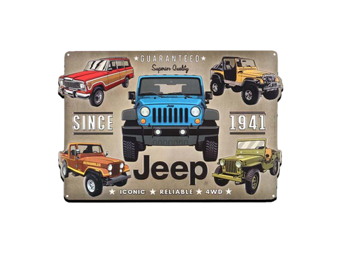 "JEEP EMBOSSED TIN SIGN, Size: 18"" W X 12"" H X 0.125"" D"
