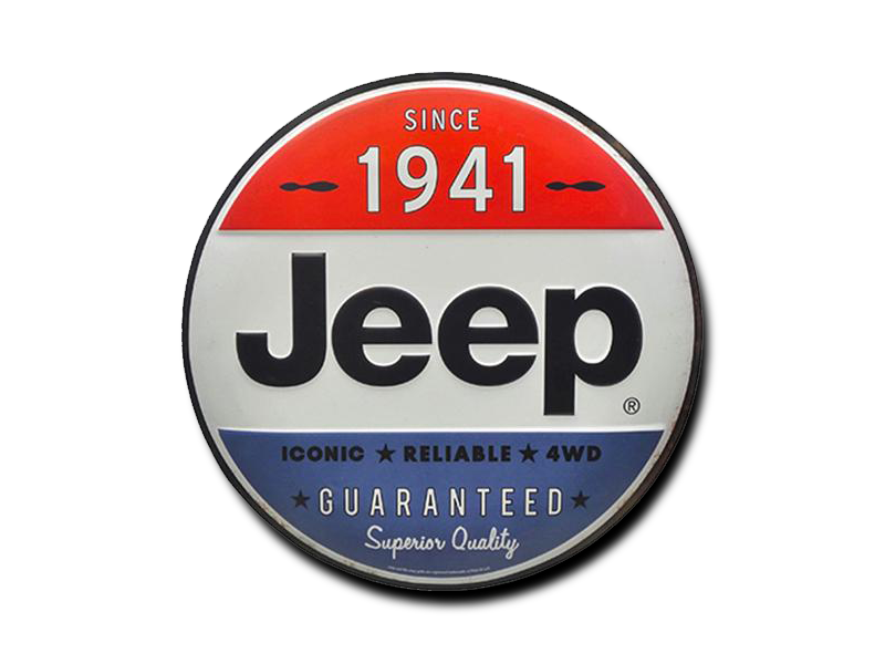 "JEEP SINCE 1941 TIN BUTTON, Size: 12"" W X 12"" H X 0.675"" D"