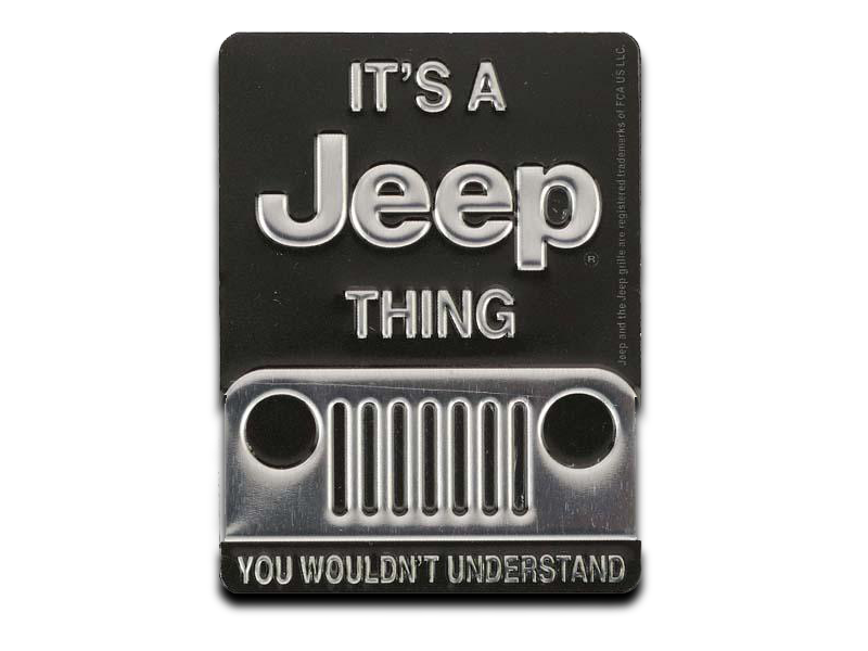 "JEEP THING EMBOSSED TIN MAGNET, Size: 2.25"" W X 3"" H X 0.125"" D"