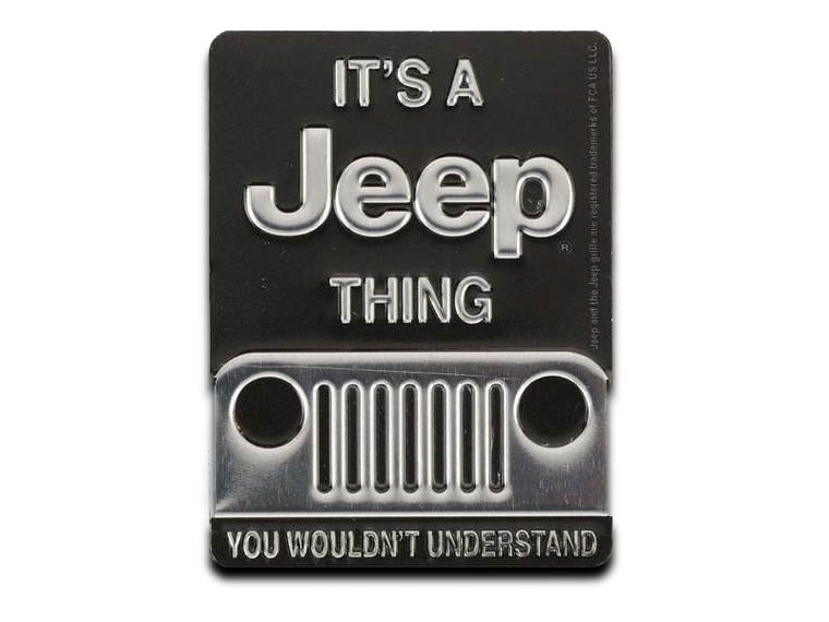 JEEP THING EMBOSSED TIN MAGNET, Size: 2.25