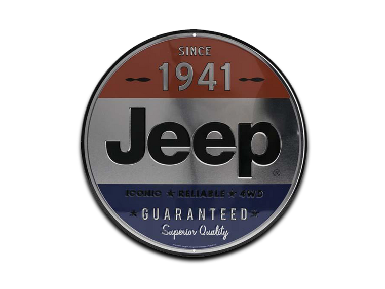 JEEP 1941 ROUND EMBOSSED TIN SIGN, Size: 12