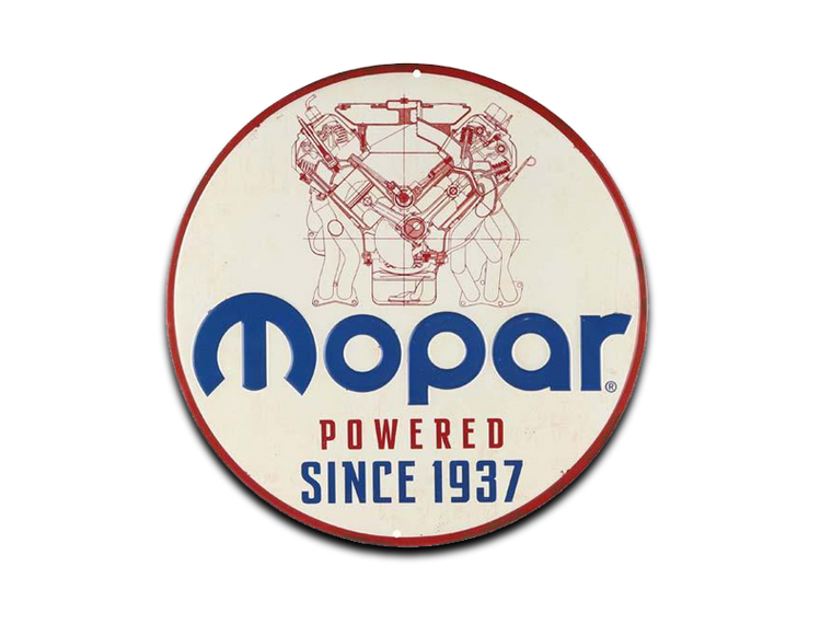 MOPAR POWERED EMBOSSED TIN SIGN, Size: 12