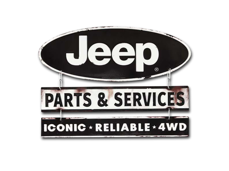 JEEP LINKED EMBOSSED TIN SIGN, Size: 15