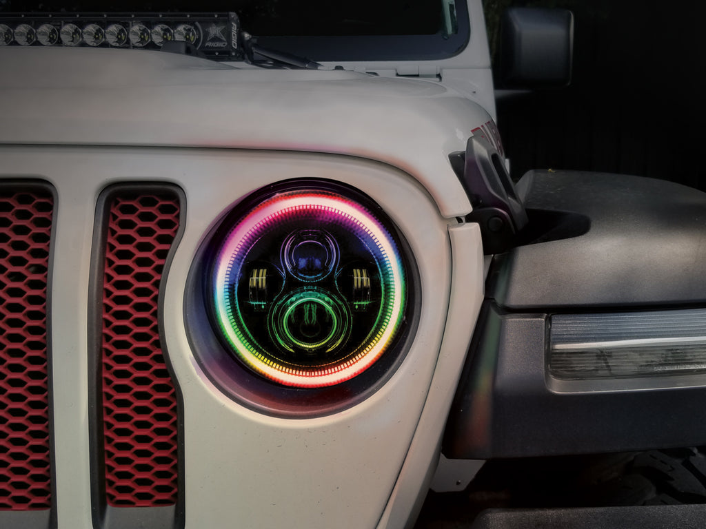 "ORACLE 7"" HIGH POWERED LED HEADLIGHTS (PAIR) - Black Bezel - Dynamic Colorshift"
