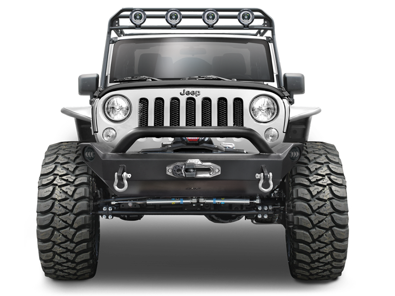 OR-FAB Front Mid Width Bumper with Center Winch Mount and Center Hoop for 07-18 Jeep Wrangler JK & JK Unlimited