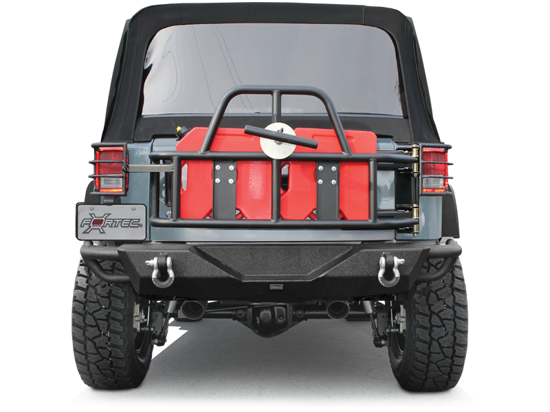 OR FAB Swing Away Tire Carrier with 2 RotopaX Fuel Cans, Textured Black for 07-18 Jeep Wrangler JK & JK Unlimited