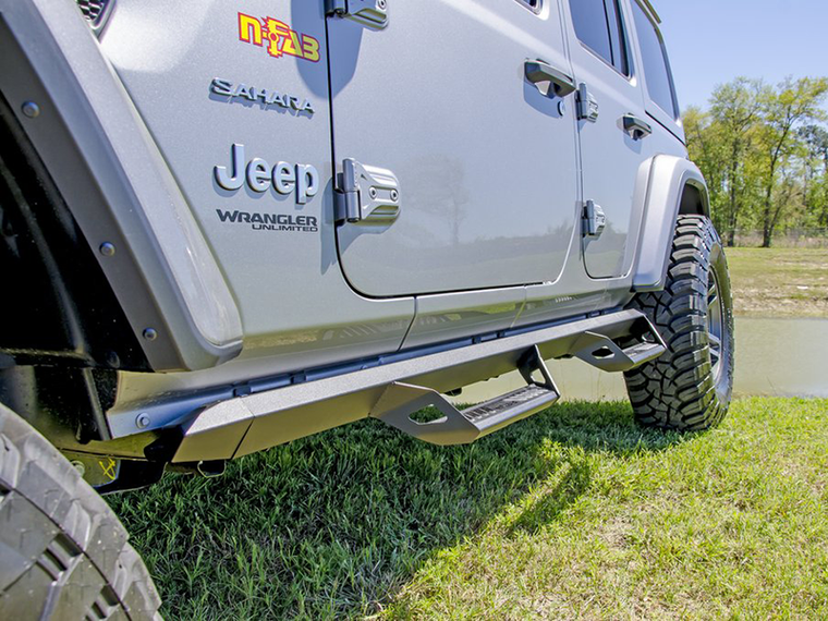N-FAB Predator Pro Nerf Steps, 100% Full Aluminum, Textured Black, 4-Door Only for 18-up Jeep Wrangler JL Unlimited