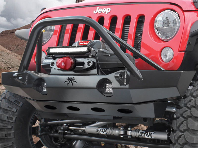 POISON SPYDER Brawler MID Width Front Bumper - Brawler Bar - Tabs - Bare Steel or SpyderShell Black for 07-18 Jeep Wrangler JK & JK Unlimited