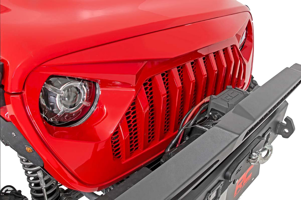 Rough Country Angry Eyes Replacement Front Grille for 18-up Jeep Wrangler JL and 20-up Gladiator JT