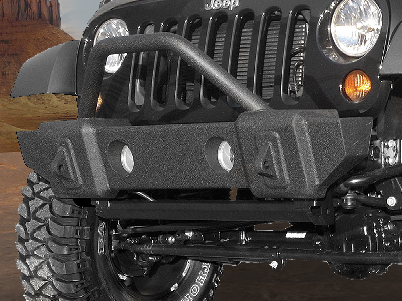 RAMPAGE Stubby Front Bumper, Black Textured for 07-18 Jeep Wrangler JK & JK Unlimited