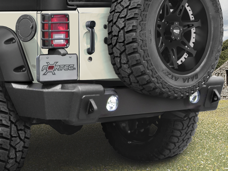 "RAMPAGE Rear Bumper ""Marathon"", Textured Black for 07-18 Jeep Wrangler JK & JK Unlimited"