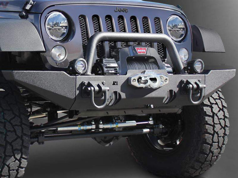 RUGGED RIDGE High Approach XHD Bumper Kit with Overrider & Winch Mount for 07-18 Jeep Wrangler JK & JK Unlimited & JK & JK Unlimited Unlimited