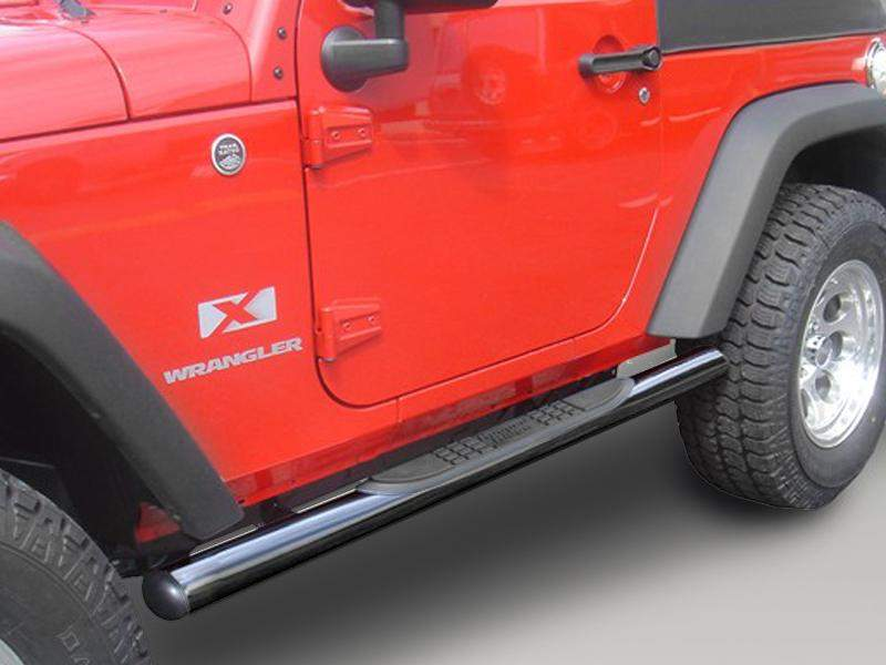"RUGGED RIDGE 3"" Round Side Tube Steps for 07-18 Jeep Wrangler JK & JK Unlimited"