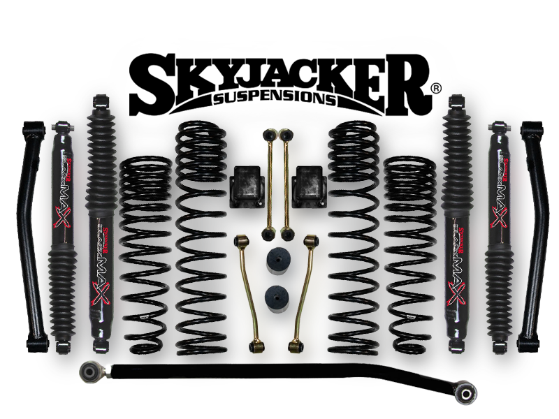"SKYJACKER 3.5"" Dual Rate Long Travel Lift Kit with Black MAX Shocks (Non-Rubicon Only) for 2020 Wrangler JT Gladiator"