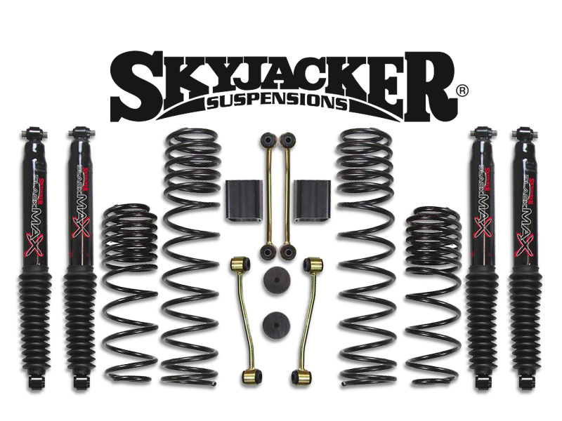 "SKYJACKER 2.5"" Suspension Kit Non-Rubicon with Dual Rate Springs and Black Multi-Stage Valved Shocks for 18-up Jeep Wrangler JL Unlimited"
