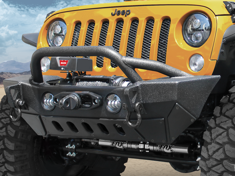 SMITTYBILT XRC Rock Crawler Winch Bumper with Grill Guard and D-ring Mounts, G... for 07-18 Jeep Wrangler JK & JK Unlimited