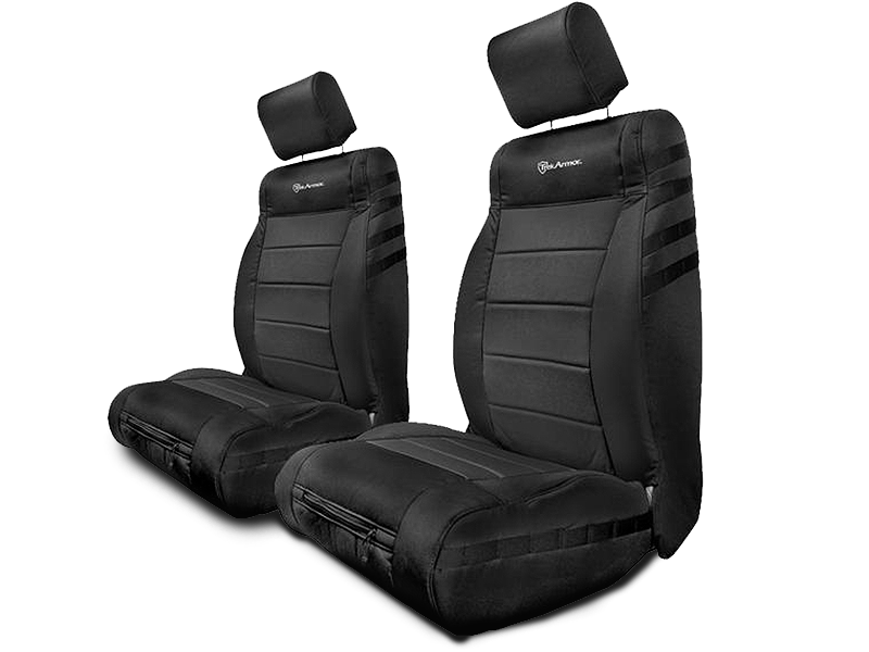 BARTACT Front Seat Covers with Air Bag Slot, Pair, Black/ Black, for 13-18 Wrangler JK