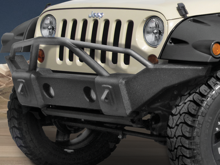 RAMPAGE PRODUCTS Marathon Front Bumper in Textured Black with Grille Guard for 07-18 Jeep Wrangler JK & JK Unlimited