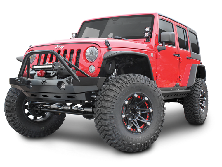 POISON SPYDER Crusher Tubular Flat Fenders for 07-18 Jeep Wrangler JK & JK Unlimited