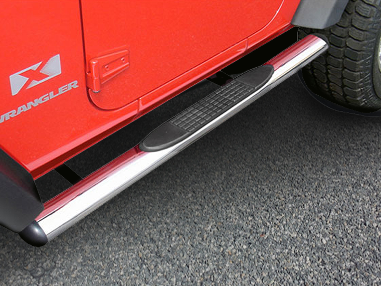 "RUGGED RIDGE 4.25"" Oval Side Bars with Step, Stainless Steel, Pair for 07-18 Jeep Wrangler JK Unlimited"