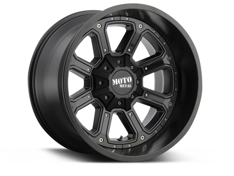 "MOTO METAL 984 ""SHIFT"" Wheel in Satin Black, Gloss Black Inserts for 07-18 Jeep Wrangler JK & 18-up Jeep Wrangler JL"