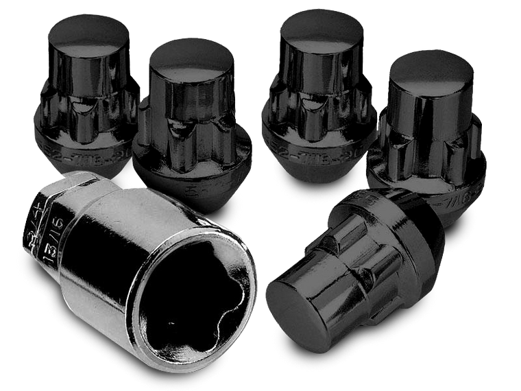"WHITE KNIGHT 1/2"" Thread Steel Locking Lug Nut Kit for 76-18 Jeep CJ, Wrangler YJ, TJ & JK in Black or Chrome"