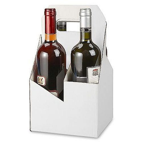 Blank Cardboard Four Pack Holder - WINE 750ML