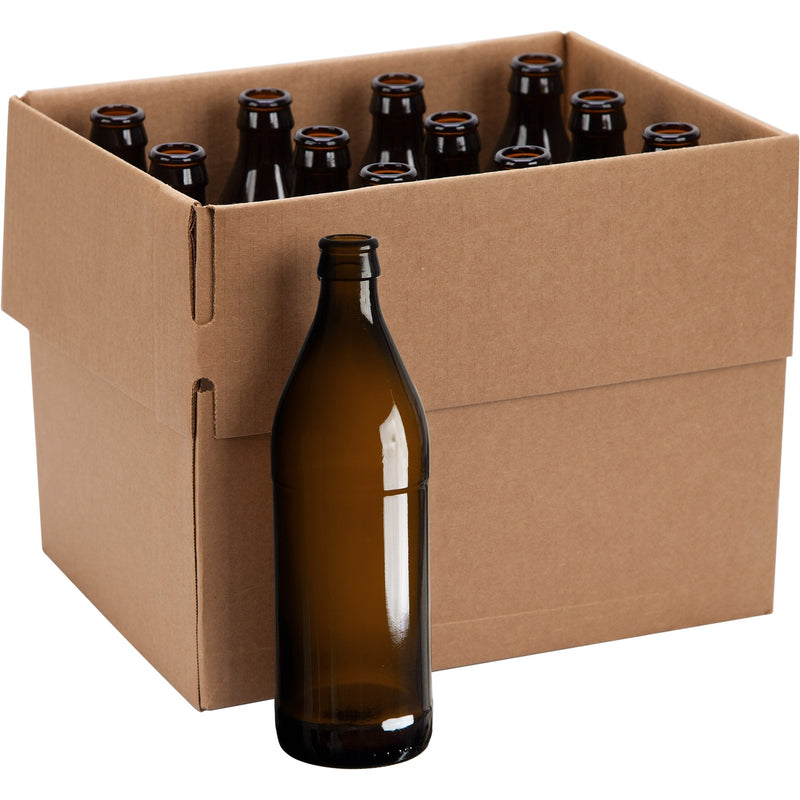 Euro Beer Bottles - 500 ml, Amber - Case of 12