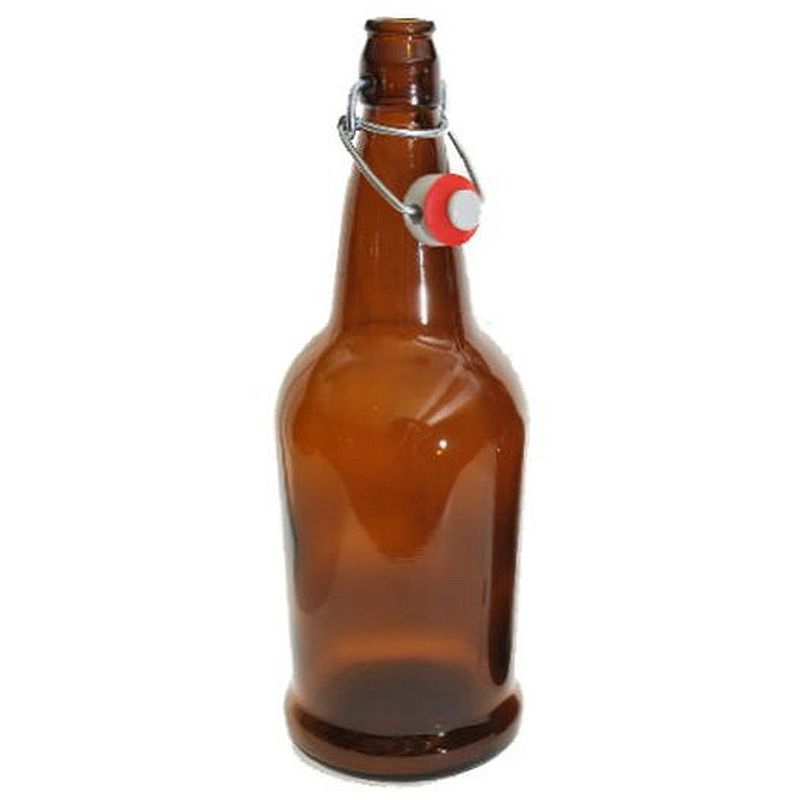 EZ Cap Beer Bottles - 16 oz, Amber - Single Bottle with Cap