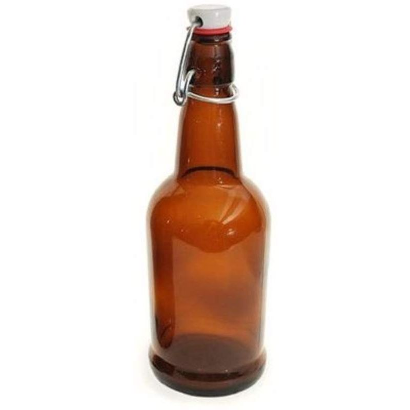 EZ Cap Beer Bottles - 1 Liter, Amber - Single Bottle with Cap