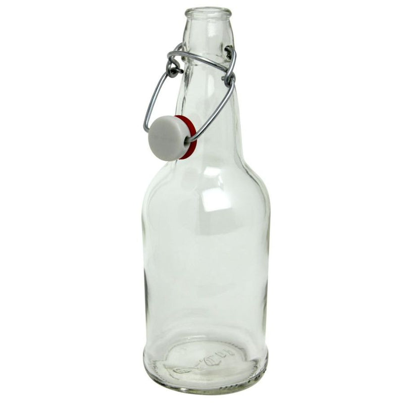 EZ Cap Beer Bottles - 16 oz, Clear - Case of 12 with Caps